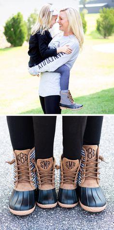 Mom \u0026 Me Black Striped Duck Boots