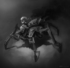Steampunk  spider chick mech by Callergi