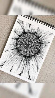 Mandala Doodle, Mandala Art Lesson, Mandala Artwork, Mandala Painting, Doodle Art Drawing, Zentangle Drawings, Mandala Drawing, Zentangles, Sunflower Mandala