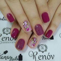 31 Fotos de Unhas Decoradas com Esmalte Roxo Shellac Nails, Nail Manicure, Toe Nails, Nail Polish, Fancy Nails, Pretty Nails, Acryl Nails, Finger Nail Art, Ring Finger