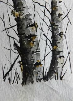 """Original Watercolor Painting - Two Birch Trees"" - Original Fine Art for Sale - © James Lagasse"