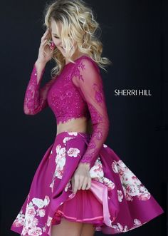 Print Two-Piece Long-Sleeve Dress by Sherri Hill Dresses With Sleeves, Two Pieces Dresses Fashion Dresses 2019 Hoco Dresses, Dance Dresses, Pretty Dresses, Sexy Dresses, Beautiful Dresses, Fashion Dresses, Dresses With Sleeves, Sherri Hill Prom Dresses Short, Fitted Dresses