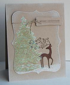 Tree and Reindeer Handmade Christmas Card