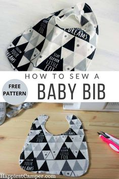 How to Sew a Baby Bib with Free Pattern. This easy sewing project for beginners with step by step pictures. I love the way this Baby bib came out and only took a few minutes to make. These baby bibs make great Baby Shower gifts. Baby Sewing Tutorials, Baby Sewing Projects, Sewing Projects For Beginners, Sewing Ideas, Bib Pattern, Free Pattern, Best Baby Bibs, Baby Bib Tutorial, Baby Bibs Patterns