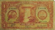 RARA cédula da Guiana Inglesa, valor de 1 dollar, emissão de 1942. Elevada cotação. MBC