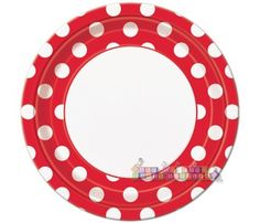 Red Polka Dots Large Paper Plates (8ct)
