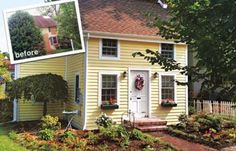 Best Curb Appeal Before and Afters 2011 - yellow house with flower boxes but no shutters