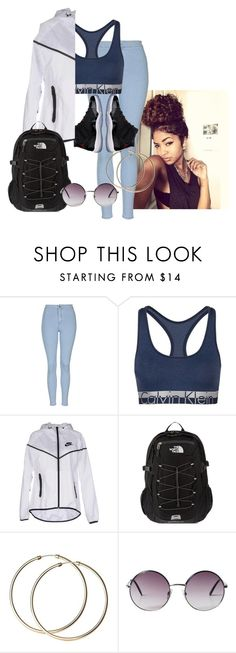 """Untitled #63"" by ahmya-artis on Polyvore featuring Topshop, Calvin Klein, Freaker, NIKE, The North Face and Monki"