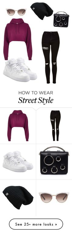"""Winter street style"" by orangetripper on Polyvore featuring River Island, Topshop, NIKE, MSGM and Gucci"