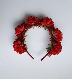 Spring Racing Colourful Floral Headband Red Dahlias with