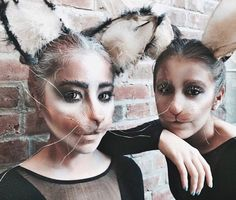 Feline and rabbit unite in this creative Special Effects collaboration! White Rabbit Makeup, Bunny Makeup, Cat Makeup, Halloween Make Up, Halloween Face Makeup, White Rabbit Costumes, Prosthetic Makeup, Media Makeup, Animal Makeup