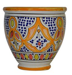 Flower Pot Moroccan Spanish Garden Drain Hole Ceramic Planter Handmade ** Read more at the image link.