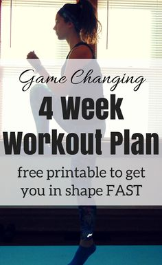 FREE PRINTABLE: 4 Week Full Body Workout Plan. Download this game changing workout plan to get you in shape fast with 5 at home workouts each week.