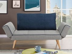 Klikklak-bedbank EBATY van stof - Grijs en blauw Sofa Cama Clic Clac, Love Seat, Furniture, Home Decor, Products, Sleeper Couch, Sofa Chair, Wooden Beds, Gray Fabric