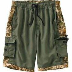 Swim trunks or board shorts – this pair can handle both. Made from a unique brushed 100% poly sateen fabric that's quick drying and resists fading in Legends™ Camo. Fully lined with a comfortable mesh interior, front drawstring ties, full elastic waistband, two front top pockets and two side cargo pockets with Velcro® stays.