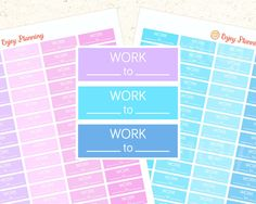 Work Stickers printable planner stickers Printable Stickers Erin Condren planner stickers Work Schedule Happy Planner stickers Blue Pink by EnjoyPlanning on Etsy