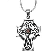 """Chuvora .925 Sterling Silver Oxidized Antique Celtic Irish Cross and Red Garnet Pendant with Rhodium Snake Chain Necklace w/ Lobster clasp 18"""" - Nickel Free Chuvora. $26.99. Pendant Size: Width 2.2 cm, Length 3 cm. Packaging: Black Velvet Pouch. High Quality .925 Sterling Silver Pendant. Weight: 16.63 gram. Included with Solid Rhodium Snake Chain Necklace 18"""""""