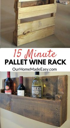 Pallet project for real people! This wine rack can be made super quickly and ready for hanging before dinner. Click to see the step by step tutorial…