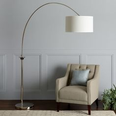 Shop for Safavieh Lighting Mira Arc Floor Lamp. Get free delivery at Overstock - Your Online Lamps & Lamp Shades Store! Get in rewards with Club O! Curved Floor Lamp, Gold Floor Lamp, White Floor Lamp, Arc Floor Lamps, Modern Floor Lamps, Contemporary Lamp Shades, Modern Contemporary, Arc Lamp, Room Lamp