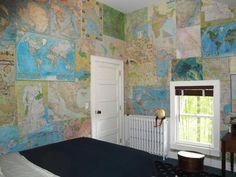 map wall bedroom