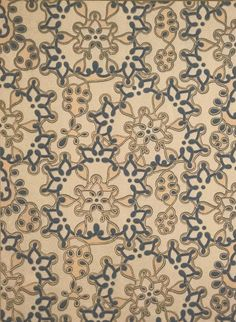 Mounted Aesthetic-era antique wallpaper. A spectacular 1880s pattern that simply defies categorization (it could be a wall or ceiling paper), this is one of our all-time favorite designs. An entire wal