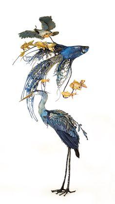 Una colección de animales cubiertos de paisajes surrealistas de flora y fauna por Ellen Jewett   Colosal