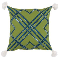 SECRET SALE! Pair of Bamboo Print Indoor/Outdoor Pillows with Tassels — Green & Blue