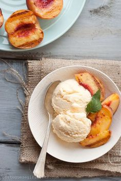 Peach Ice Cream with Grilled Peaches