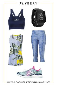 Cycling outfit with blue tones and spring flowers. Woman, Bike, Flowers, Sport, Fit.  Bra: https://flybery.com/clothing/adidas-by-stella-mccartney-topwear-tops-cycling/p/122735  Top: https://flybery.com/clothing/puma-womens-aop-tank-top-cross-fit/p/63474  Leggings: https://flybery.com/clothing/puma-active-training-womens-all-eyes-on-me-34-tights-cross-fit/p/125405  Trainers: https://flybery.com/shoes/asics-gel-hyper-tri-3-womens-running-shoes-blue-cycling/p/116613  Accesory…