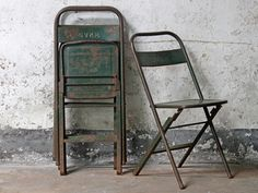 Black Metal Vintage Folding Chairs - Old Chairs, Stools & Benches - Scaramanga