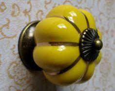 Dresser Knob Drawer Knobs Pulls Handles / Yellow Porcelain Cabinet Knobs / Door Knob Vintage Furniture Hardware Antique Bronze Pumpkins $3.80