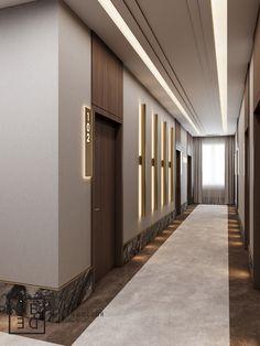 DEDE/Boutique hotel and restaurant design on Behance Hotel Hallway, Hotel Corridor, Hotel Door, Hotel Lobby Design, Elevator Lobby Design, Modern Hotel Lobby, Corridor Design, Plafond Design, Interior Design Photography