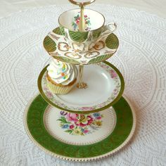 Emerald Green 3 Tier Wedding Cupcake Display or Tiered Mad Hatter Meets Oz Tea Party Stand by HighTeaForAlice