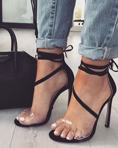Transparent Strap Open Toe Thin High Heeled Sandals Suede Style, Cute Heels, Black Pattern, Sexy Feet, Open Toe, Too Thin, Color Black, Open Toe Shoes, Too Skinny
