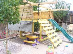 platform, ladder & swings on the corners