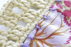 Interesting tutorial that hooks fabric squares together with crochet
