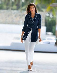 Techno-stretch trousers, Blouse, Long blazer
