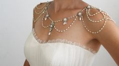 Necklace For The SHOULDERS, 1920s Inspiration, Beaded Pearls And Rhinestone,Jazz Age,Silver Sterling, OOAK Bridal Wedding Jewelry,Victorian