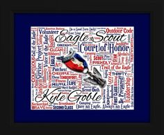This is a beautiful, unique Art Piece that honors the remarkable accomplishments of the EAGLE SCOUT.  Each stunning 16x20 framed work of art is personalized with the Eagle Scout's name and makes the perfect gift that he will treasure forever. To order go to www.aodesigns.org.