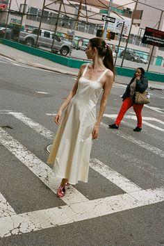 LA MOLA DRESS, OFF WHITE SATIN