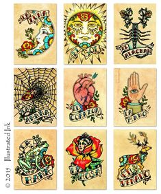 Old School Tattoo Art Prints Mexican Loteria SET of 9 Designs - 5 x 7, 8 x 10 or…