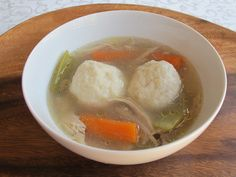 I've been thinking about matzo ball soup lately, and here's a gluten-free variation based on potato dumplings.