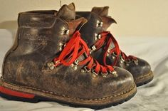 Mens Switzerland Vintage Brown Leather Winter Snow Mountaineering Boots 9 W E