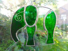 Stained Glass Elephant Suncatcher - Green  £10.95