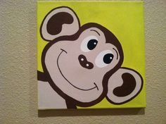 Items similar to Cute Peekaboo MONKEY .Handpainted Acrylic Painting on Canvas .for Kids nursery and/or playroom .on a 12 x 12 canvas on Etsy Kids Canvas Art, Cute Canvas Paintings, Diy Canvas, Acrylic Painting Canvas, Animal Paintings, Baby Painting, Painting For Kids, Painting & Drawing, Art For Kids
