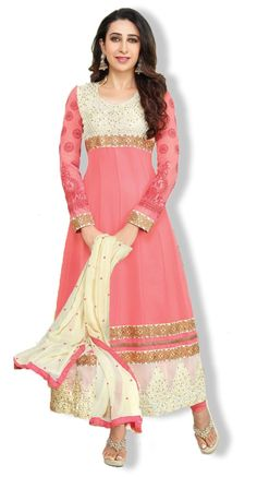 MRP Rs 2,220 Save Rs 549  Pattern Embroidered Weight 1000 gms Occasion Party Wear Style Type Long Anarkali Suits Color Top : Pink & Cream, Bottom : Pink, Dupatta : Cream, Inner : Pink