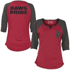 Women's Red Georgia Bulldogs Baja 3/4 Raglan Sleeve T-Shirt