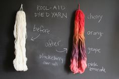 Dyeing with Kool-Aid! Kool-Aid is acidic enough to not need additional acid. And (having done it before), it's pretty colorfast. If using wool, don't agitate it to prevent felting.   A really nice tutorial, with color chart.   Works on wool felt, too.   Miss Make: Kool-Aid Dyed Yarn Tutorial
