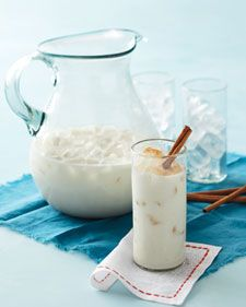 Had this weekend at Edison party...so good!!! This cinnamon-vanilla rice drink is a frothy Mexican classic. Rice flour offers a nice shortcut, eliminating the customary need to soak grains of rice overnight and grind them. Condensed milk gives the blend sweetness. For a spiked version, stir in a little rum.