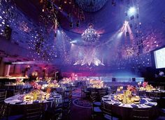 Jes Gordon/Proper Fun created a supper club atmosphere at Gotham Hall in New York for a recent bar mitzvah. Four-hundred luminaries filled with LED candles were hung from a large oval truss on the ceiling. Social Events, Corporate Events, Gala Themes, Debut Themes, Debut Ideas, New York Pictures, Event Lighting, Dramatic Lighting, Wedding Lighting